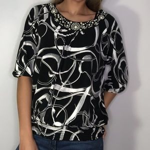 JM Collection Petite Pearl 3/4 Sleeve Blouse Large